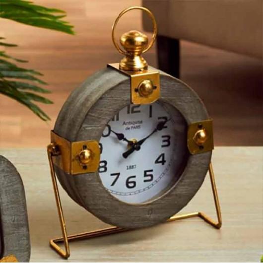 Reloj redondo Gris y Oro 27 cm