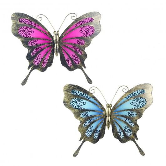 Mariposa metalica azul/rosa...